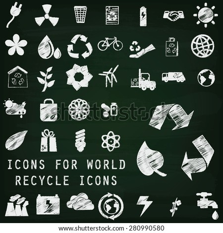 recycle icons hand drawing by chalk on chalkboard - stock vector