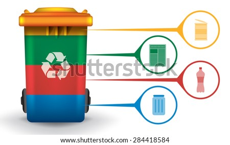 Recycle infographic with colorful trash bin and garbage icons, vector concept - stock vector