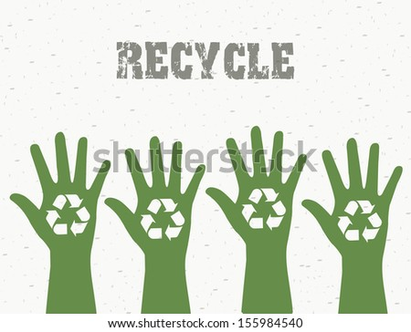 recycle label over white background vector illustration  - stock vector