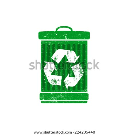 Recycle logo on trashcan, dustbin, vector illustration