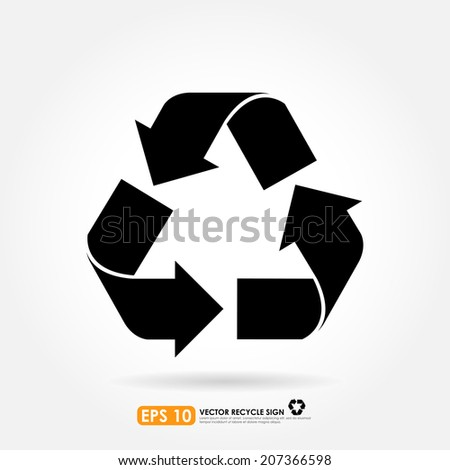 Recycle sign in black color - isolated - stock vector