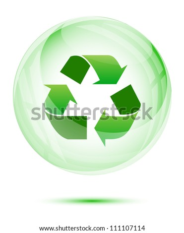 Recycle sign in the green glass sphere on white (Green concept) - stock vector