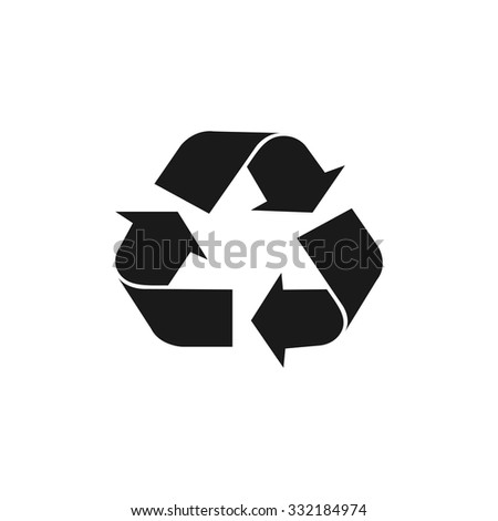 Recycle sign in white color - isolated. EPS