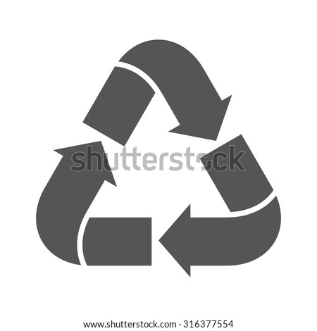Recycle sign isolated on white background. Vector symbol for packaging or garbage container. Possibility of recycling raw materials. Environmental emblem. - stock vector