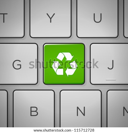 Recycle Sign Keyboard - Recycling green sign on keyboard close up - stock vector