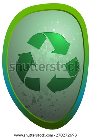 Recycle Sign on a glossy Oval Stone, Vector Illustration isolated on White Background.
