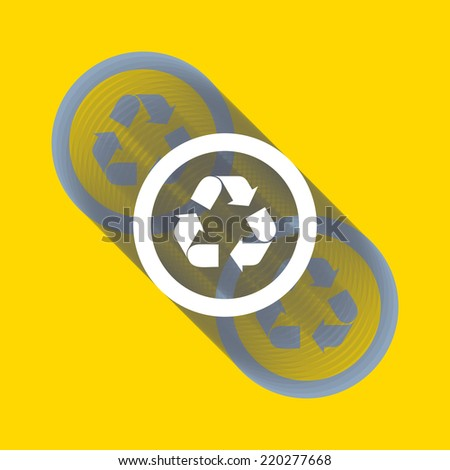Recycle sign or icon. Ecology icon with shadow. Vector illustration for your design. - stock vector
