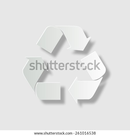 Recycle sign - vector icon with shadow - stock vector