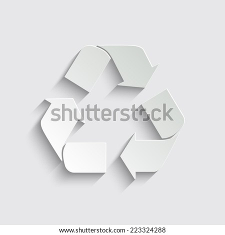 Recycle sign - vector icon with shadow on a grey background - stock vector