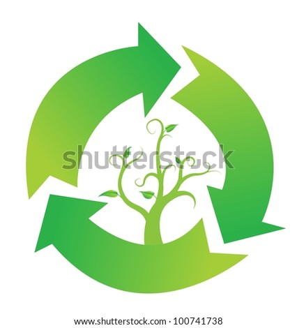 Recycle sign with branch and leaves, vector - stock vector