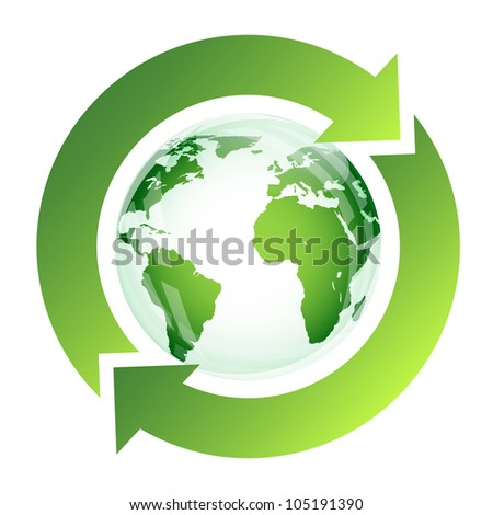 Recycle sign with green globe on white - stock vector