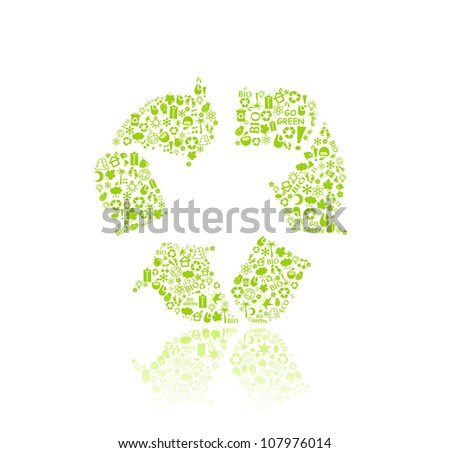 Recycle Silhouette Icon Sign. Go Green Eco Pattern Isolated on White Backdrop - bulb, leaf, globe. Ecology concept. - stock vector
