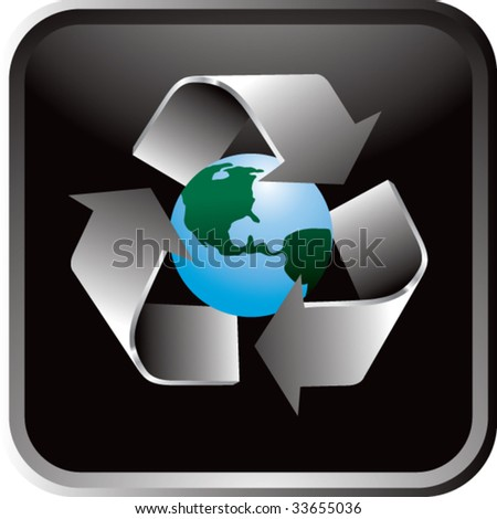 recycle symbol around earth on black web button