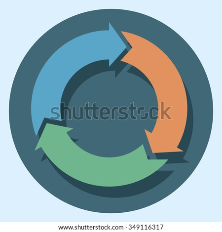 recycle symbol circle icon with shadow
