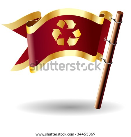 Recycle symbol icon on red and gold vector flag