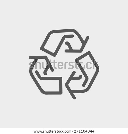 Recycle symbol icon thin line for web and mobile, modern minimalistic flat design. Vector dark grey icon on light grey background. - stock vector