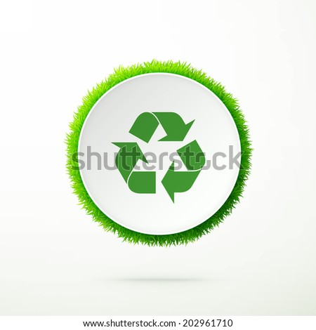 Recycle symbol on a white shape with fresh green grass, environmental concept image eps10 vector illustration - stock vector