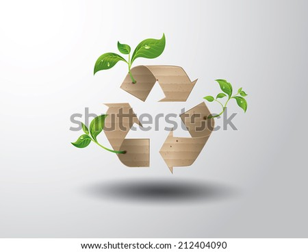 Recycle symbol or sign of conservation . Vector symbol paper cut style - stock vector