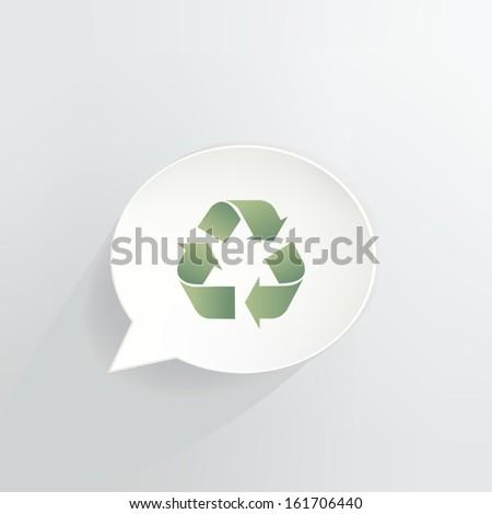 Recycle Symbol Speech Bubble - stock vector