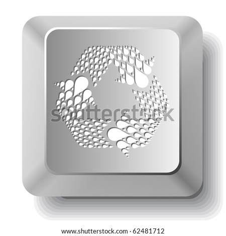 Recycle symbol. Vector computer key. - stock vector