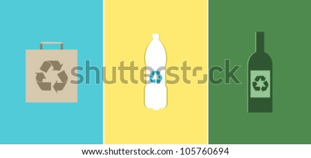 Recycle symbols for paper, plastic and glass - stock vector