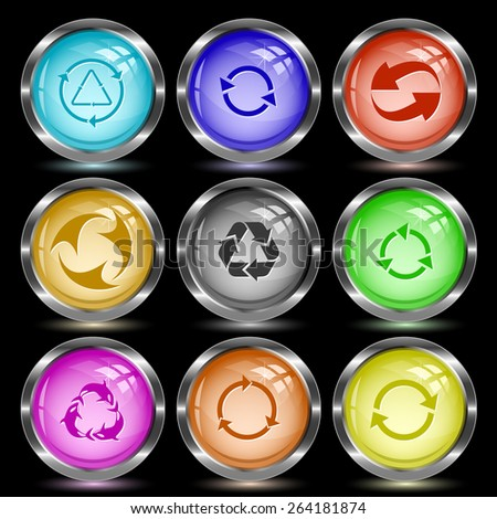 Recycle symbols set. Internet button. Vector illustration. - stock vector