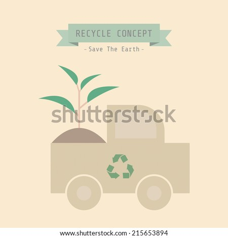 recycle truck with sprout, eco concept - stock vector