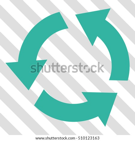 Recycle vector icon. Image style is a flat cyan icon symbol on a hatched diagonal transparent background.