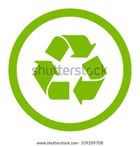 Recycle vector icon. Style is flat rounded symbol, eco green color, rounded angles, white background. - stock vector