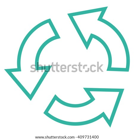 Recycle vector icon. Style is outline icon symbol, cyan color, white background.
