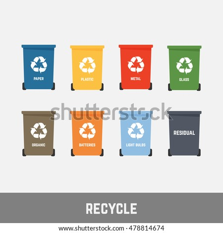 recycle waste bins vector illustration, Waste types segregation recycling.