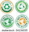 Recycled color stamp set - stock vector