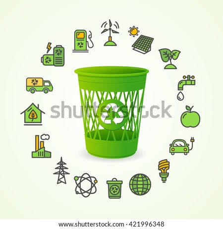 Recycled Concept with Green Trash. Vector illustration
