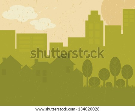 Recycled paper green city poster.