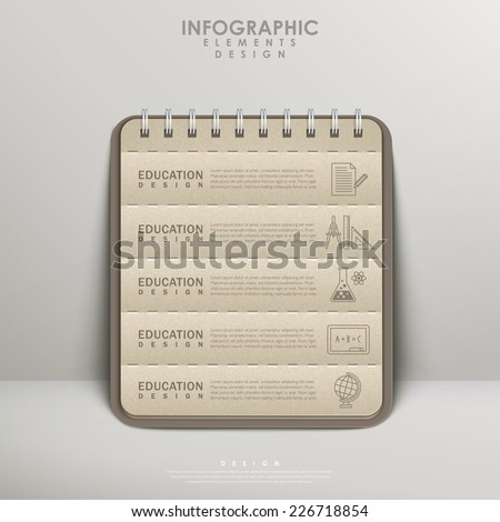 recycled paper notebook for education infographic element design - stock vector