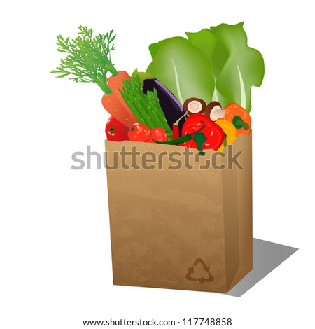 Recycled sopping paper bag with veggies/Recycled sopping paper bag with recycle sign and veggies - stock vector