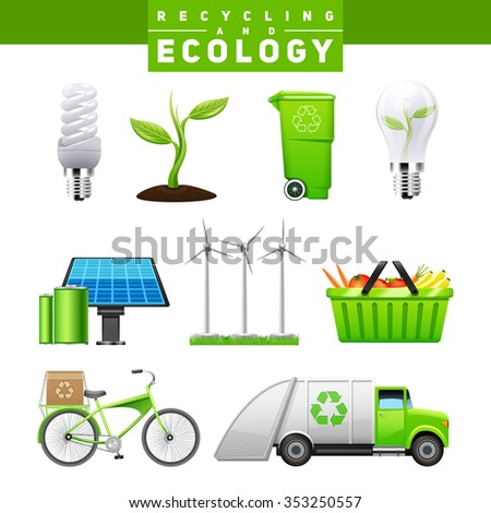 Recycling and ecology icons images of eco friendly elements of human life flat realistic isolated vector illustration