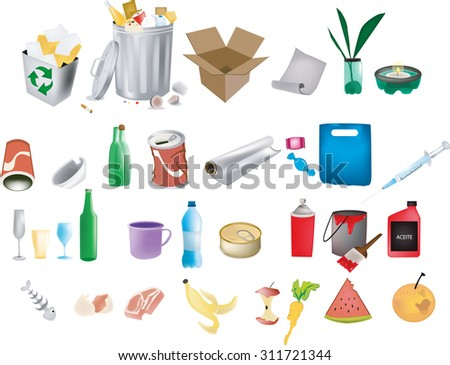 recycling and garbage elements - stock vector