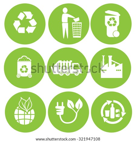 Recycling and waste reduction icons set with materials and sorting flat isolated vector illustration. - stock vector