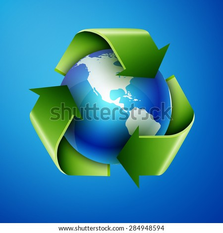 recycling arrows and blue earth, excellent vector illustration, EPS 10 - stock vector