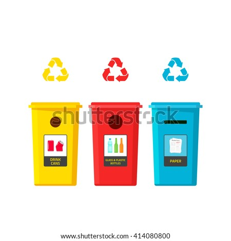 Recycling bins vector illustration isolated on white background, recycle bin for different waste type, trash sorting boxes, flat cartoon garbage cans with glass, plastic bottles, cans, paper stickers - stock vector