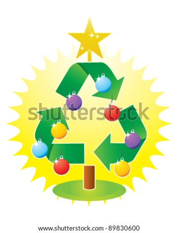 Recycling Christmas Tree - stock vector