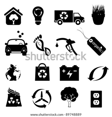 Recycling, clean energy and environment icons - stock vector