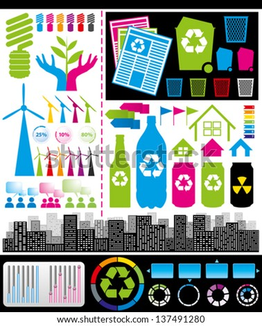 Recycling concept. Vector big set of infogrsphics elements - stock vector