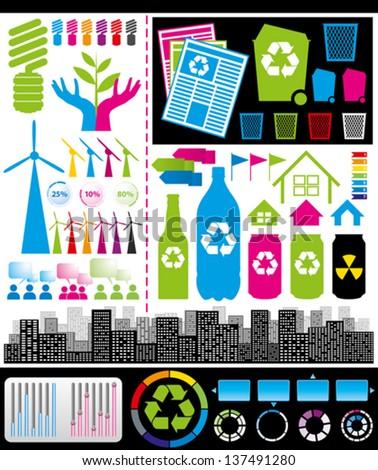 Recycling concept. Vector big set of infogrsphics elements - stock vector