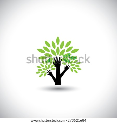 recycling, eco tree hand with leaves, helping nature - concept vector. The graphic also represents nature conservation, preserving ecological balance, sustainable living, biosphere protection - stock vector