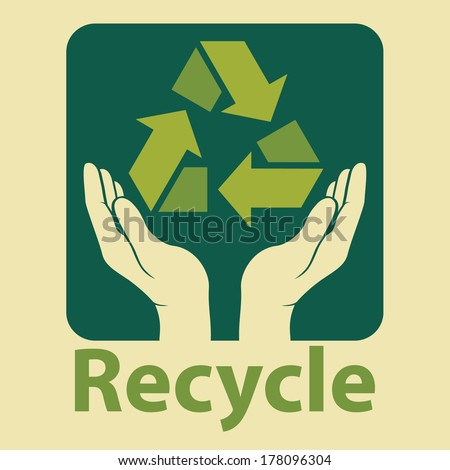 recycling ecological, environmental protection concept. recycle design in green colors. vector illustration.    - stock vector