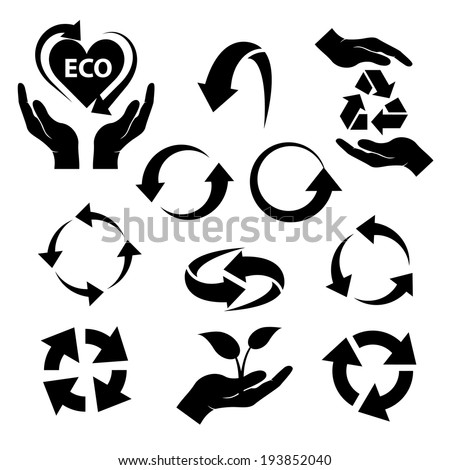 recycling ecological symbols in black color isolated on white background. vector illustration  - stock vector