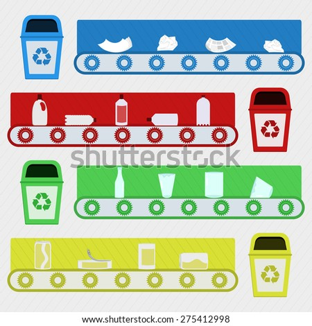Recycling factory. Conveyor with recycled material in a recycling factory. Recycling paper, plastic, glass and metal. - stock vector
