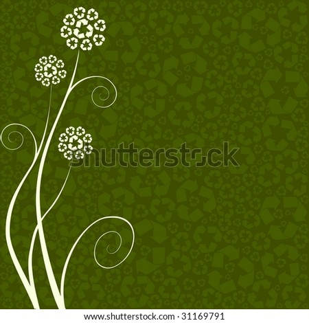 Recycling-flower concept (vector);  a JPG version is also available - stock vector